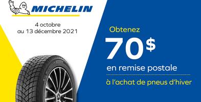 70$ de rabais à l'achat de 4 pneus Michelin