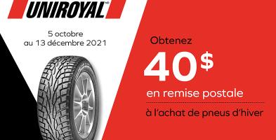 Obtenez 40$ de rabais à l'achat de 4 pneus Uniroyal